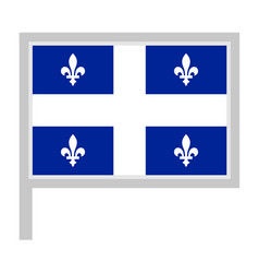 Quebec flag on flagpole icon vector