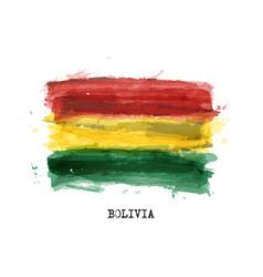 Realistic watercolor painting flag bolivia vector