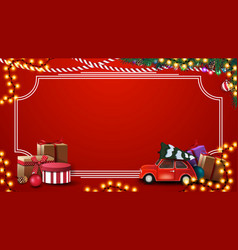 red christmas template with presents vintage vector image