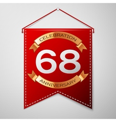Red pennant with inscription sixty eight years vector