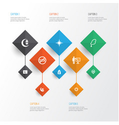 religion icons set collection of islam clock vector image