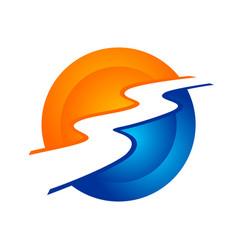 River stream modern circular symbol logo design vector