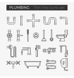 Sanitary plumbing engineering thin line icons vector image