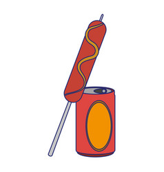 Sausage stick with soda cup vector