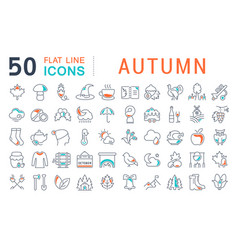 set line icons autumn vector image