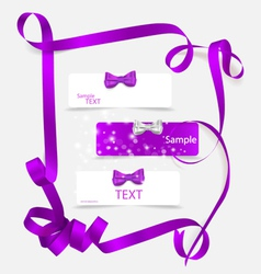 Set of card notes with beautiful gift bows and vector image