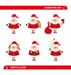 Set of Christmas Santa Claus vector