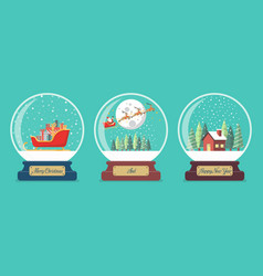 set of merry christmas glass ball collection vector image