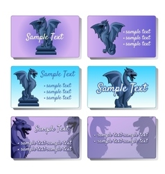Set of six cards depicting gargoyles vector