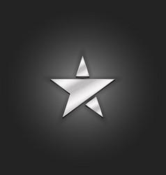 silver star logo mockup metallic shabby texture vector image