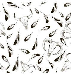 Sketch pens and sheep skull cow pattern vector