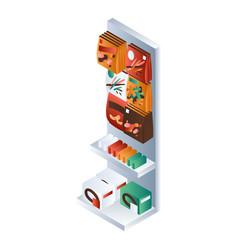 small supermarket shelf icon isometric style vector image