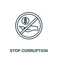 Stop corruption icon thin outline style design vector