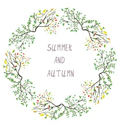 Summer and autumn frame - seasons change vector image