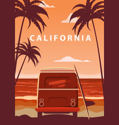 surfer orange bus van camper with surfboard on vector image