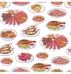 thai cuisine dishes on white background vector image