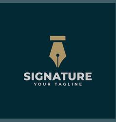 Vintage classic fountain pen signature write logo vector