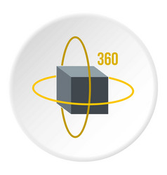 Virtual cube icon circle vector