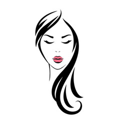 woman head with long hair and pink lips vector image