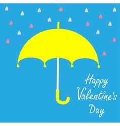 Yellow umbrella and rain Happy Valelentines day vector
