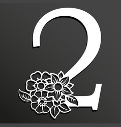 floral number 2 vector image