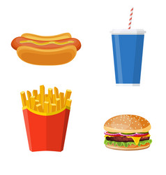 group of fast food products vector image vector image