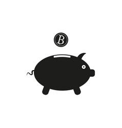 piggy bank sign black icon vector image