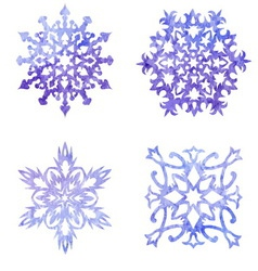 Watercolor blue painted set of Christmas vector image vector image