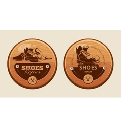 advertisement wood panels for shoes repair vector image vector image