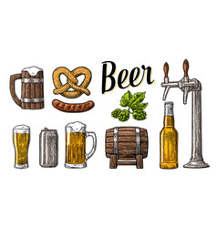 Beer set with tap class can bottle barrel vector