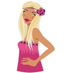 BlondeWomanInPinkWithFlower vector image vector image