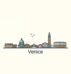flat line venice banner vector image