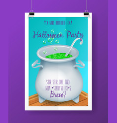 halloween party invitation poster with hand vector image