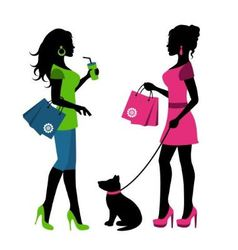 Two women with bags and a dog on a leash vector image vector image