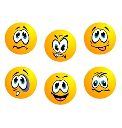 Collection of yellow emoticons vector image vector image