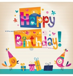 Cute birds Happy Birthday card vector image vector image