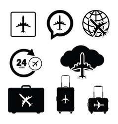 flying icon set travel in black color vector image vector image