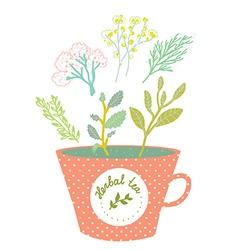 Herbal tea cup - retro style vector image vector image