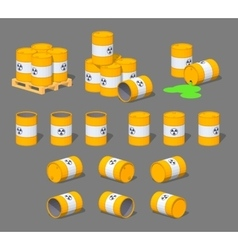 Metal barrels with the nuclear waste vector image