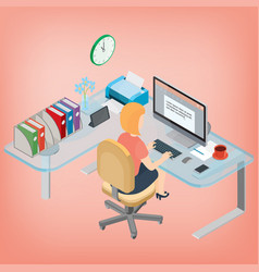 secretary assistant manager woman working at the vector image