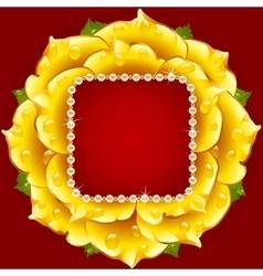 Yellow rose circle frame vector