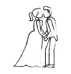 couple wedding love kiss sketch vector image