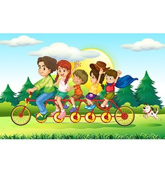 Family members riding bike in the park vector image vector image