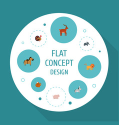 flat icons pony gobbler jackass and other vector image vector image