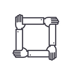 four hands togetherassistance line icon vector image