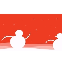 Silhouette of snowman christmas scenery vector