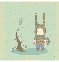 with character and tree vector image