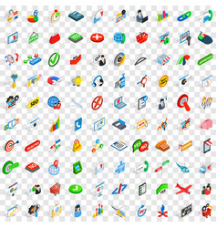 100 deal icons set isometric 3d style vector