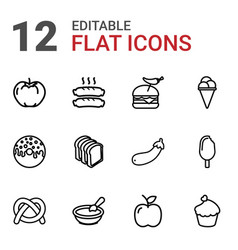 12 snack icons vector