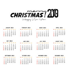 2019 calendar template christmas and happy new vector image